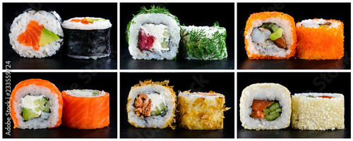 Set of sushi close up different on dark background collage