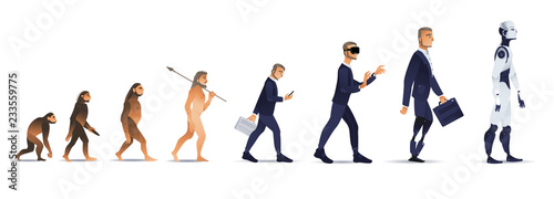 Vector evolution concept with ape to cyborg and robots growth process with monkey, caveman to businessman in suit wearing VR headset, artificial legs person and robotic creature Fotobehang