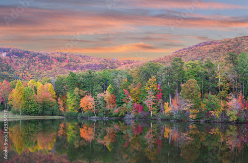 Fall Foliage Reflected in the Lake at  Cheaha State Park, Alabama Canvas Print