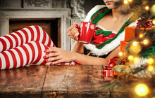 Christmas Elf And Wooden Desk Space