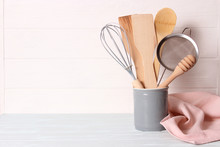 Set Of Kitchenware On Wooden B...