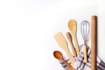 different kitchenware on a light background top view. Cooking appliances. flat lay