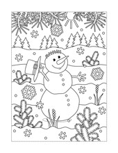 Winter Holidays Joy Themed Coloring Page With Happy Cheerful Snowman Walking Outdoor