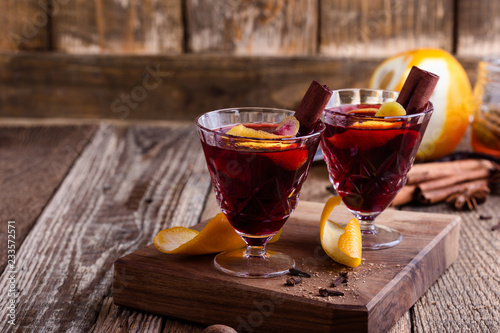 Glasses of  mulled wine, Christmas party festive drink