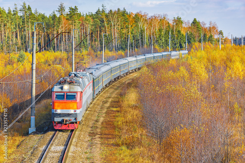 Passenger train from Beijing to Moscow approaches to the station.