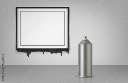 Aerosol spray on grey background with black frame Canvas Print