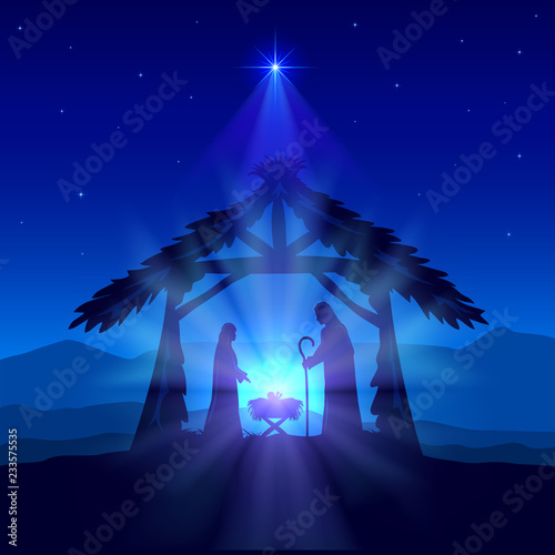 Fototapeta Christian Christmas with Birth of Jesus and Star on Blue Background
