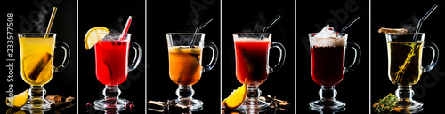 Staande foto Cocktail set collection of hot cocktails on a dark background