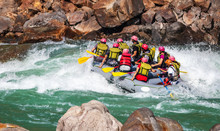 Young Persons Rafting On The River Ganges In Rishikesh, Extreme And Fun Sport At Tourist Attraction