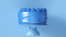 Big Blue Luxury Cake 3d Illustration 3d Render