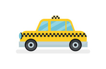 Flat Vector Icon Of Classic Yellow Taxi Cab. Passenger Automobile. Urban Transport Theme