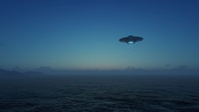 3d Render UFO Above The Ocean