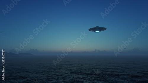 Obraz na płótnie 3d render UFO above the ocean
