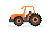 Orange Tractor With Large Whee...
