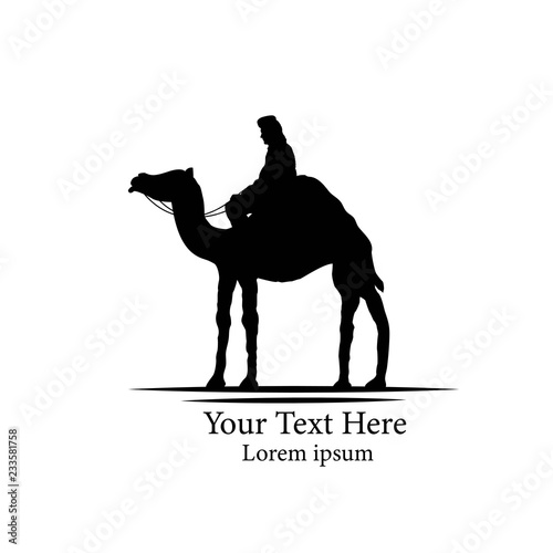 Fotografering  Bedouin on a Camel Silhouette Isolated on White