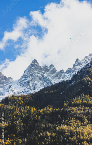 Keuken foto achterwand Alpen Beautiful view of snowy Alp mountains and green coniferous trees hills under the blue sky with clouds, vertical image orientation. Autumn sunny day in the Alps, Chamonix, France