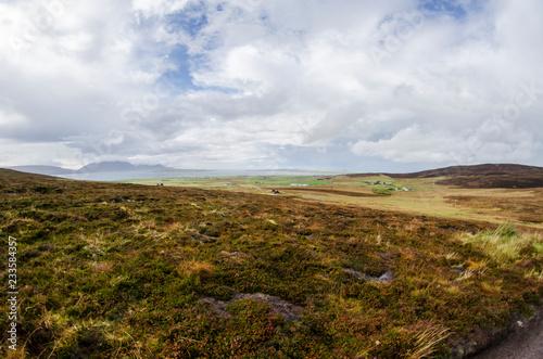 Spoed Foto op Canvas Grijze traf. Green Countryside with Blue Sky