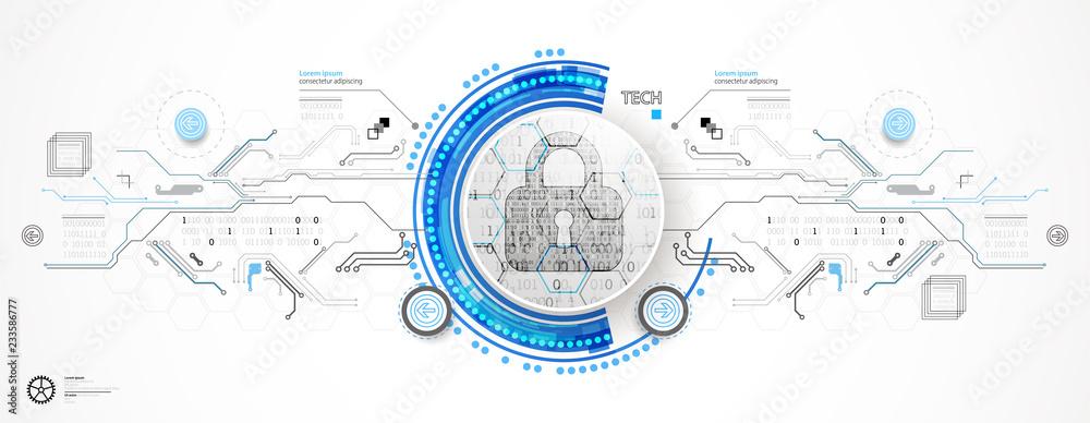 Fototapeta Secure digital space. Virtual confidential, programming protection.