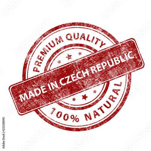 Photo  Red round stamp made in Czech Republic. Vector