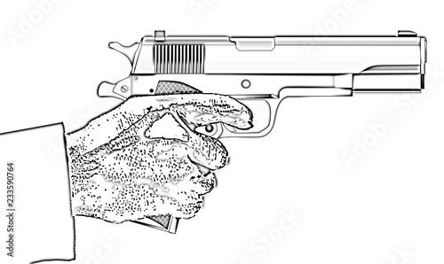 Fotografia, Obraz  Holding a Gun