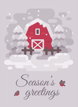 Red Barn With Trees In A Winte...