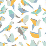 Seamless pattern with colorful origami birds. Vector background with geometric birds:  crane, pigeon, parrot, swan. Hand drawn design for paper, textile print, page fill - 233594932