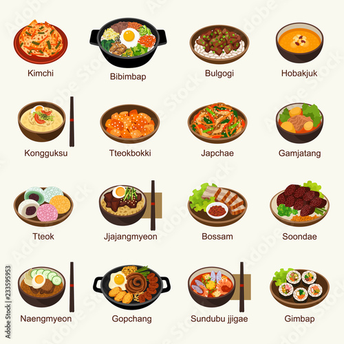 Fototapeta Korean food vector illustration set obraz