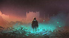 Man In Futuristic Suit Standing On Glowing Plants In The Alien Planet, Digital Art Style, Illustration Painting