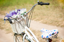 White Vintage Bicycle With Basket And Flowers Stands In The Meadow