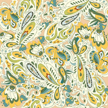 Seamless Pattern With Oriental Ornament. Yellow, Gold, Beige, Bl
