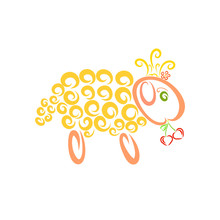 Yellow Sheep In A Crown Holding Two Heart-shaped Cherries