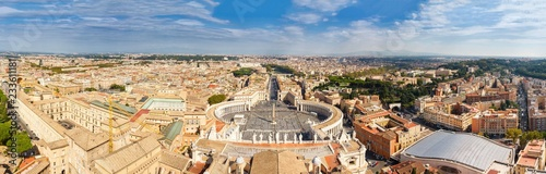 Crédence de cuisine en verre imprimé Con. Antique Panorama Cityscape from height, Saint Peter's Square and Cathedral of St. Peter near river Tiber. Rome, Italy