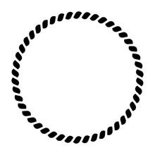 Circle Of Rope Pattern. Ornamental Decorative Frame. Black Vector Illustration.