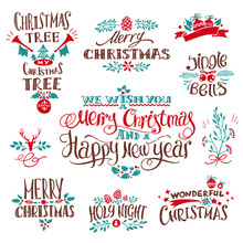 Christmas Creative Decoration Set With Hand-drawn Signs And Design Elements