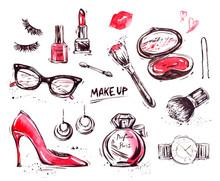 Hand Drawn Cosmetics Set. Nail...