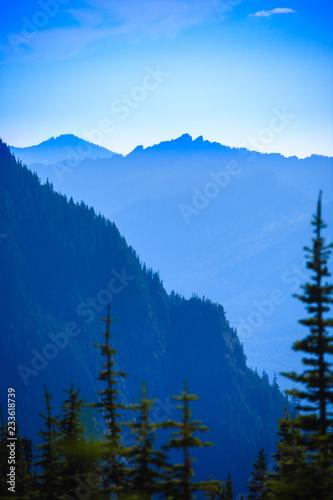 Spoed Fotobehang Zalm Hazy scenic view of mountain ranges in Mt. Rainier National Park.