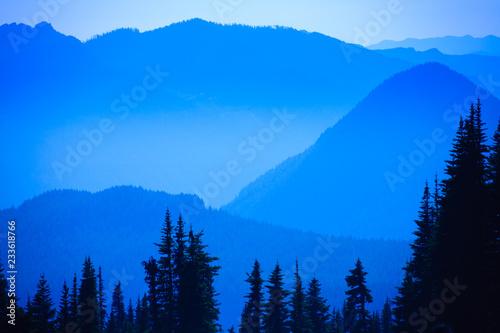 Aluminium Prints Hazy scenic view of mountain ranges in Mt. Rainier National Park.