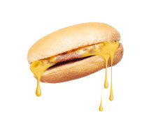 Melted Cheese Flows From Cheeseburger On White Background