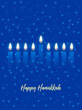 Hanukkah Greeting Card With Candles. Happy Hanukkah, Jewish Holiday Background. Vector Hanukkah Background With Menorah