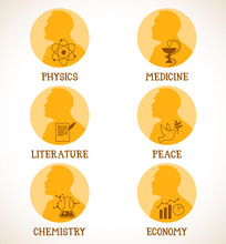 Nobel Laureates. Nobel Medals....