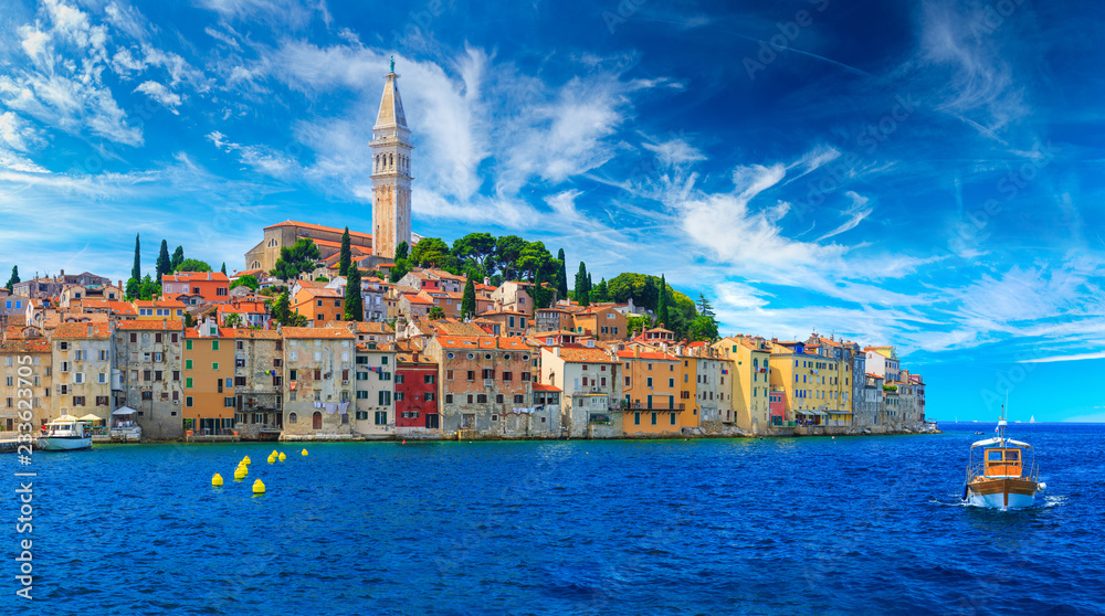 Fototapeta Wonderful romantic old town at Adriatic sea. Boats and yachts in harbor at magical summer. Rovinj. Istria. Croatia. Europe.