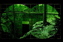 Old Bunker Through Night Vision