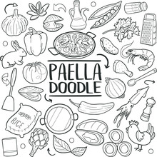 Paella Spanish Traditional Food Doodle Icon Hand Draw Line Art