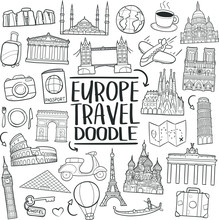 Europe Monuments Tour Traditional Doodle Icons Sketch Hand Made Design Vector