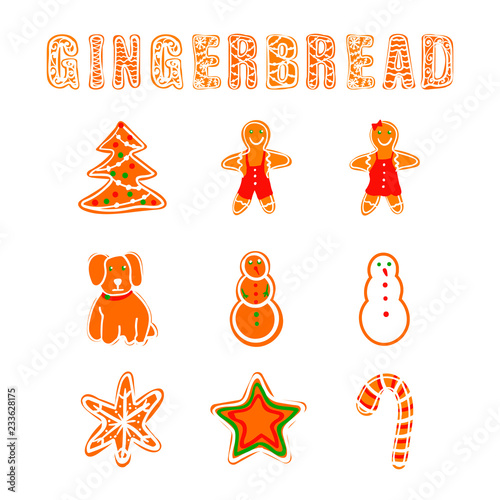 Fotografering  Vector Gingerbread Collection, Cookies Letters and Different Shapes