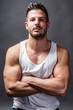 canvas print picture - Junger, muskulöser, attraktiver Mann
