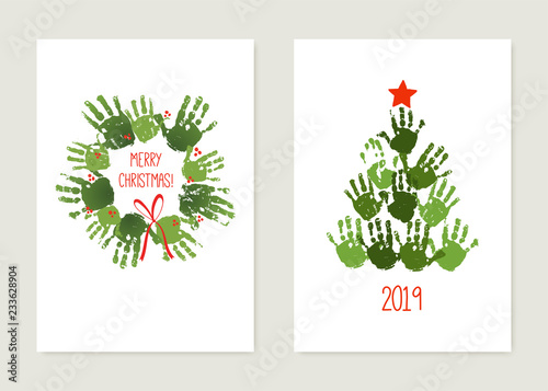 Fotografia, Obraz  Handprint Christmas tree with red star