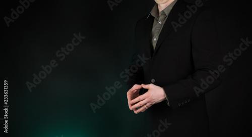 Businessman hands showing steeple superior thinking gesture, on gradient green b Wallpaper Mural