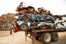 Stack Of Crushed Cars On Trail...