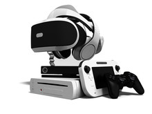 Concept Game Consoles Goggles For Reality Reality Headphones Gaming Joysticks And Cost Effective Gaming Console 3d Render On White Background With Shadow